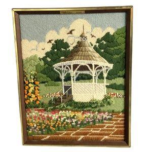 Vintage Wall Art - Vintage Springtime Gazebo Needlepoint Embroidery